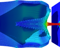 MPM simulation of a shape charge detonation