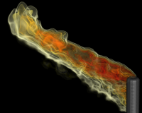 Simulation of an industrial flare - temperature