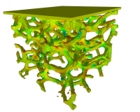 Simulating the stress points during a foam compaction