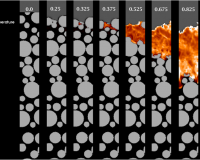 Gas temperature in a combustion simulation